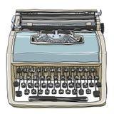 蓝色和奶油色葡萄酒打字机逗人喜爱的例证 库存照片