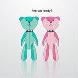 蓝色和桃红色微型熊传染媒介 免版税库存图片