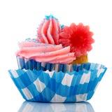 蓝色和桃红色杯形蛋糕 库存照片