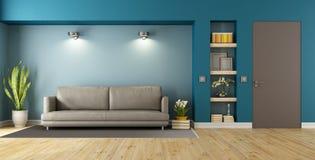 蓝色和棕色现代客厅 库存例证