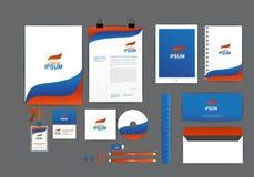 蓝色和橙色与波浪公司本体模板 免版税库存图片