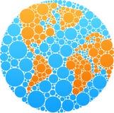 蓝色和橙色圈子地球 免版税库存照片