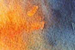 蓝色和橙色抽象水彩背景 免版税库存图片