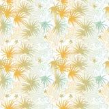 蓝色和橙色棕榈和波浪夏天无缝的pa 库存图片