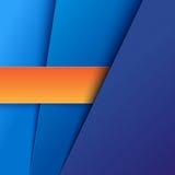 蓝色和橙色纸分层堆积背景 库存图片