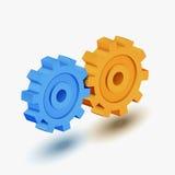蓝色和橙色齿轮 库存照片