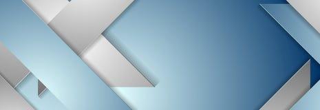 蓝色和灰色几何公司横幅设计 免版税库存照片