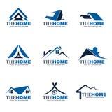 蓝色和灰色家庭商标集合传染媒介设计 免版税图库摄影