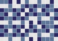 蓝色和白方块陶瓷锦砖构造背景 免版税库存照片