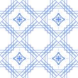 蓝色和白色几何线无缝的样式 免版税库存照片