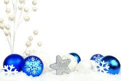 蓝色和白色圣诞节边界 免版税库存照片