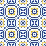 蓝色和白色地中海无缝的陶瓷砖样式 向量例证