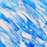 蓝色和白色对角线被绘的纹理背景 免版税库存照片