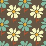 蓝色和白色抽象雏菊花无缝的样式背景例证 图库摄影