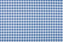 蓝色和白色方格的纺织品 免版税图库摄影