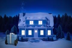 蓝色和白色镶边礼物盒的综合图象在轮子的 皇族释放例证