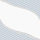 蓝色和白色雪佛之字形框架有被撕毁的背景 图库摄影