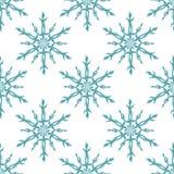 蓝色和白色雪花几何圣诞节无缝的样式,传染媒介 免版税库存图片