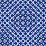蓝色和白色织品纹理无缝的瓦片背景 免版税库存照片