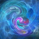 蓝色和紫色烟雾例证 化工烟流程分数维抽象 皇族释放例证
