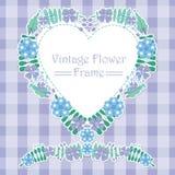 蓝色和紫色花爱花圈框架传染媒介设计 库存图片