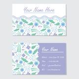 蓝色和紫色花背景名片传染媒介设计模板 库存照片