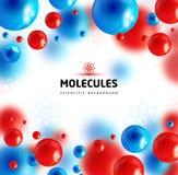 蓝色和红色分子,传染媒介背景 免版税库存图片