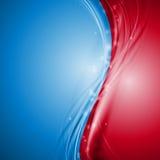 蓝色和红色抽象传染媒介波浪设计 图库摄影
