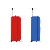 蓝色和红色旅行袋子 在白色传染媒介例证 免版税图库摄影