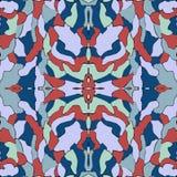 蓝色和红色无缝的样式,万花筒背景,时尚的原始的设计 免版税库存图片