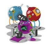 蓝色和红色机器人机器人紫色机器人被折除了 库存图片