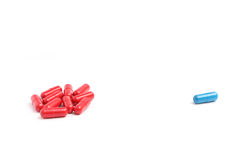 蓝色和红色药片2 免版税图库摄影