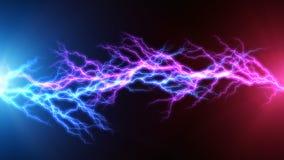 蓝色和红色闪电弧放电 库存例证