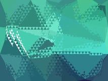 蓝色和绿色几何抽象背景例证 库存图片