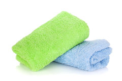 蓝色和绿色毛巾 库存照片