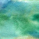 蓝色和绿色水彩纹理的例证  水彩抽象背景,污点,迷离,积土,印刷品,浪花, ru 库存图片