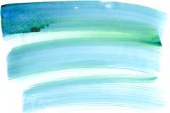 蓝色和绿色油漆水彩背景 免版税库存照片