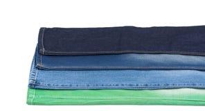 蓝色和绿色牛仔布织品 库存图片