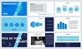 蓝色和绿色现代介绍模板 免版税图库摄影