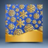 蓝色和金模板 免版税库存照片