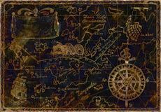 蓝色和金海盗地图 免版税图库摄影