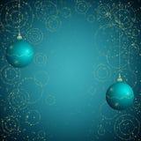 蓝色和金黄圣诞节背景 图库摄影