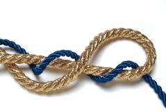 蓝色和金黄绳索 库存图片