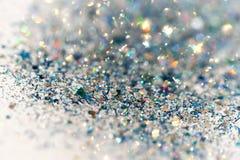 蓝色和银色结冰的雪冬天闪耀的星闪烁背景 假日,圣诞节,新年摘要纹理 库存照片