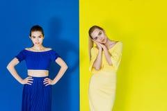 蓝色和黄色成套装备摆在的可爱的少女 图库摄影