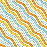 蓝色和黄色颜色对角波浪条纹无缝的样式 重复的线墙纸 简单的经典主题 免版税库存照片