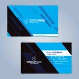 蓝色和黑现代名片模板 免版税库存图片