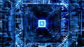 蓝色和黑行动图表背景方形的隧道与线和光的 皇族释放例证