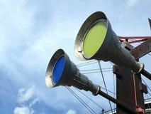 蓝色和黄灯 免版税库存图片