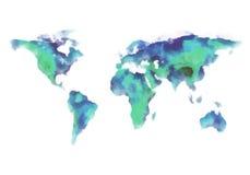蓝色和绿色世界地图,水彩绘画 库存照片